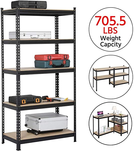 Yaheetech 5 Tier Metal Garage Shelves Storage Rack Shelf Unit Boltless Rivet Rack 73 2in H X 35 4in W X 17 7in Deep 706lb Each Layer Black