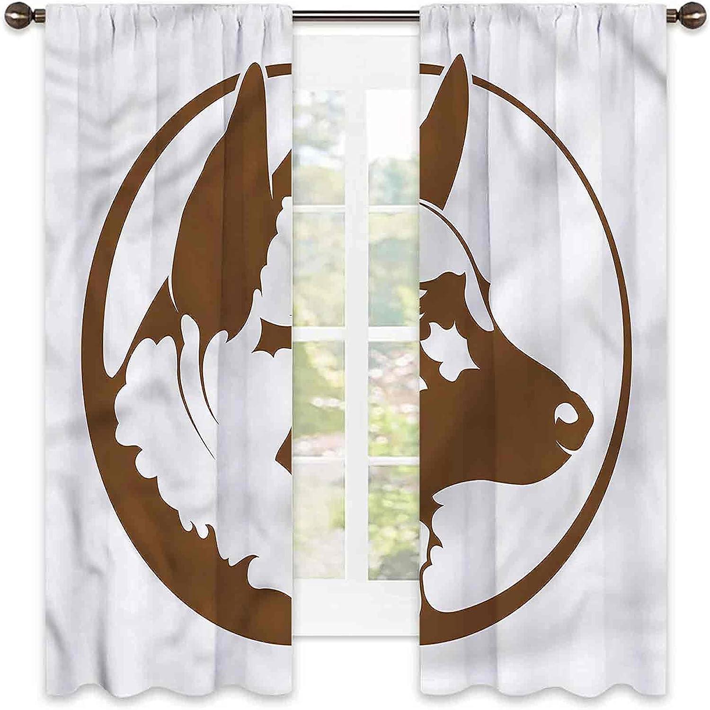 German Shepherd High order Bedroom Rod Pocket Curtains Fra Limited time sale Blackout Circle