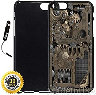 Custom iPhone 6 Plus/6S Plus Case (Steampunk Mechanical Gears) Edge-to-Edge Plastic Black Cover with Shock and Scratch Protection | Lightweight, Ultra-Slim | Includes Stylus Pen by INNOSUB