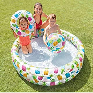 Piscina Inflable para Bebés Bañera para Niños Playa Portátil Al Aire Libre Piscina Redonda De Tres Anillos Lavabo con Anillo De Natación Bola Marina