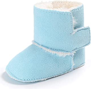 XYAN 0-1 Months Winter Baby Warm Shoes Soft Rubber Sole Non-slip Cloth Magic Tape Pure Color Keep Warm (Color : Light blue...