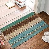 Low Profile Door Mat Indoor/Outdoor Entrance Front Doormat Area Rugs, 31.5'x20' Rustic Wood Board...