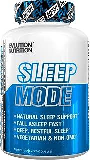 Evlution Nutrition Sleep Mode, Fall Asleep Faster, Melatonin, GABA, Valerian Root & More, Natural Aid for Deeper Sleep & Relaxation, 60 Vegetarian Capsules