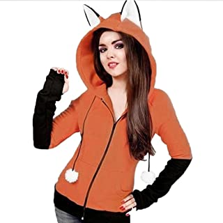 Fox Ears Hooded Sweatshirts Women Long Sleeve Coat Autumn Hoodie Jacket