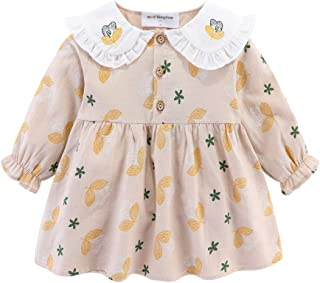 Mud Kingdom Little Girls Collar Dress Embroidery Leaf and Flower Long Sleeve