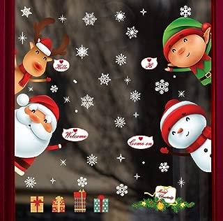 UMIPUBO Pegatinas de Ventana de Navidad DIY Lindo Vistoso Santa Claus Alce Desmontable Pegatinas Pared para Navidad Decoraciones de Ventana para Hogar/Tienda/Fiesta (2 X 30 * 90 Cm)