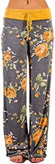 ♡QueenBB♡ Womens Wide Leg Lounge Pants Comfy Stretch Floral Print Drawstring Palazzo Pants