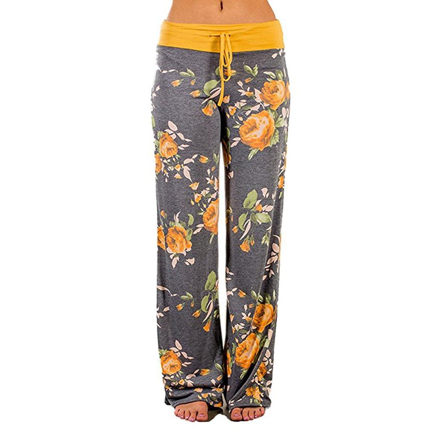 F_topbu Womens Pants Casual High Waist Comfy Stretch Floral Print Drawstring Palazzo Wide Leg Lounge Pants
