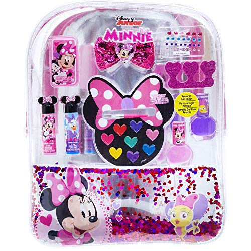 Townley Girl Disney Minnie Mouse Backpack Cosmetic Set Includes: Lip Gloss Compact Hair Bows Nail Polish Nail File Lip Balm Toe Spacer Nail Stickers