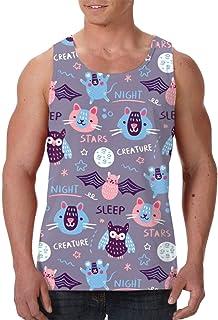 Men's Sleeveless Undershirt Summer Sweat Shirt Beachwear - Creative Hand Drawn Tiger
