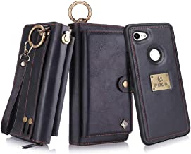 Petocase Compatible Google Pixel 3a Wallet Case, Multi-Functional PU Leather Zip Wristlets Clutch Detachable Magnetic 13 Card Slots 4 Cash Purse Protection Back Cover for Google Pixel 3a Black