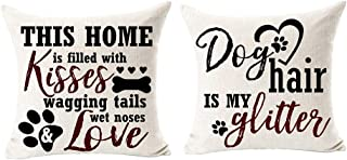 Best Dog Lover Gifts Nordic Warm Sweet Funny Sayings My Dog Thinks I'm Awesome Bone Paw Prints Cotton Linen Throw Pillow C...