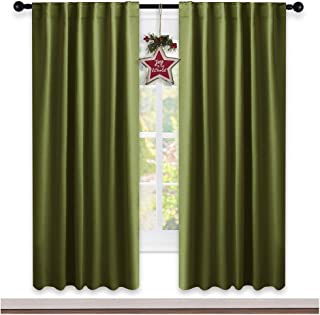 NICETOWN Living Room Blackout Curtains - (Olive Green Color) W52 x L72, 2 Pieces, Christmas Decoration Room Darkening Window Blackout Drape Panels