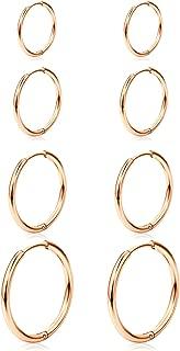 JFORYOU 4-8 Pairs Hoop Earrings Stainless Steel Cartilage Hoop Earring Endless Earrings Sleeper Earrings Huggie Earring for Men Women Clicker Rings