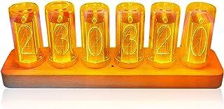 2021新版 目覚まし時計 レトロ ニキシー時計 デジタル ジクシー 時計 6桁LED 置き時計 贈り物 クリスマス プレゼント LEDデジタル木製置時計
