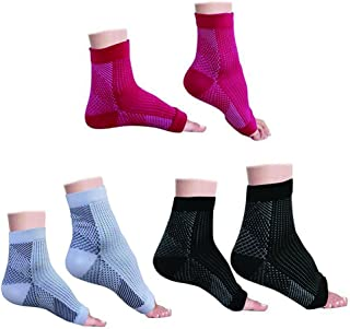 Compression Foot Sleeves (3 Pairs) - BEST Plantar Fasciitis Ankle Support Compression Socks for Plantar Fasciitis Pain Relief, Heel Pain, Enhanced Circulation, Reduce Foot Swelling, Both Men and Women