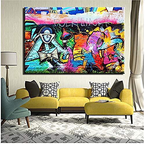 Canvas print,Abstract schilderij Canvas op doek Cartoon voor Graffiti-9392 Wall Art Home Decor-50x70cm