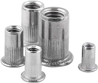 صامولة برشام عمياء ، 20 قطعة M3-M8 برأس مسطح ملولب برشام أعمى صامولة إدراج صواميل برغي من الفولاذ المقاوم للصدأ (M5)