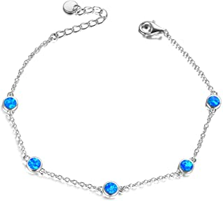 October Birthstone Blue Fire Opal Bead Bracelets Sterling Silver Adjustable Simple Bangle Bracelets Jewelry Gifts for Women Girls Birthday