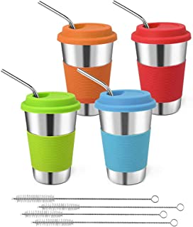 GLUBEE inoxidable Tazas acero con Pajitas, 450 ml Travel Mug con Tapa, Taza de acero inoxidable para beber para café, té y cerveza (4 pcs)