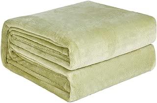NEWSHONE Flannel Fleece Luxury Blanket - Lightweight Cozy Plush Throw Blanket (Queen Size - 90X90in, Sage Green)