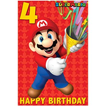 Super Mario 4th Birthday Card Amazon Co Uk Toys Games