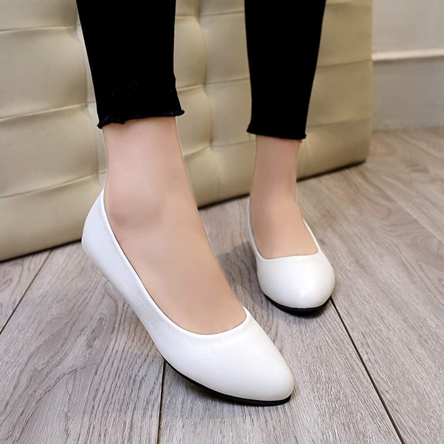 UKJSNHH igh Heels Spring Autumn Womens Wedding shoes Low Heels shoes for Woman Boat shoes Leather Black Slip on shoes
