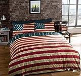 Housse de couette grande taille drapeau des USA réversible en coton