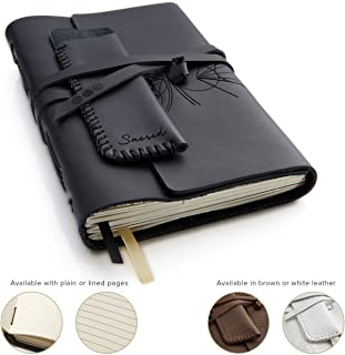 Leather Journal Sketchbook & Writing Travel Notebook Pen Holder. Lined or Plain Pages. Handmade Genuine Bound Leather Notepad For Men & Women to write or draw in. Paper 8 x 6 Inches. Perfect Gift