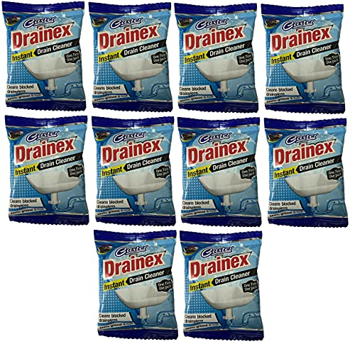 Caster-Instant Drainage Block Remover Drain Cleaner, Drainage Cleaner Wash Basin cleaning powder All Pipe Safe Cleaner Drainex Powder Clear Clogged Sinks,& Pipes. (50gm, Pack of 10)