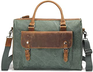 Men's Accessories Office Vintage Style 13 Inch Laptop Handbag Casual Business Briefcase Shoulder Messenger Satchel Bag,Blue/Brown/Gray/Green/Khaki Outdoor Recreation (Color : Green)