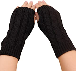Balai 1 Pair Fingerless Knit Gloves Lady Autumn Winter Arm Warmer Twist Long Mitten Casual Gloves