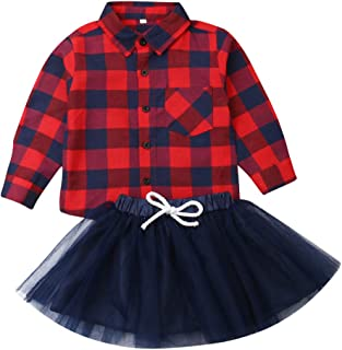 CQHY MALL Toddler Girls Christmas Outfits Red Plaid Long Sleeve Shirt Button Down Tops Princess Tutu Skirt 2Pcs Xmas Clothes Set