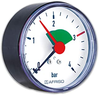 Rohrfeder Manometer für Heizung/Sanitär   Axial, Afriso, Ø63mm, DN10 (3/8'), 2,5bar Markierung