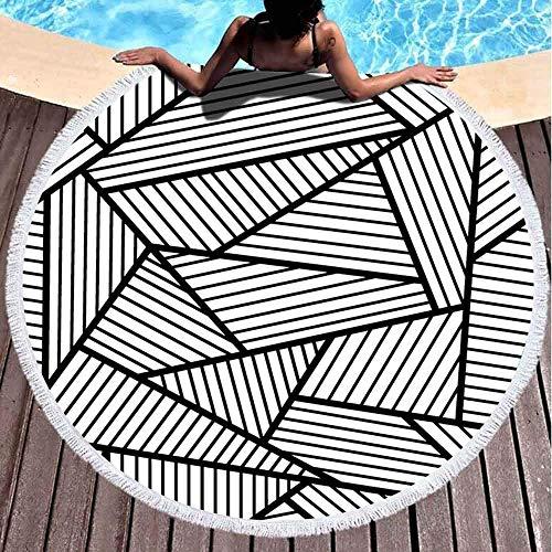 Toallas de playa redondas para niños, patrón abstracto negro blanco 152 x 152 cm, toalla de playa grande redonda para niños, mujeres y niños