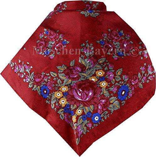 Moschen-Bayern Trachtenhalstuch Trachtentuch Halstuch Trachten Damen Herren Nickituch zum Oktoberfest Bayern Seide Tuch Seidentuch Rot