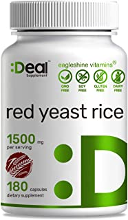 Deal Supplement Red Yeast Rice 1500mg, 180 Capsules, Support Cardiovascular Health & Promote Blood Circulation, No Citrini...