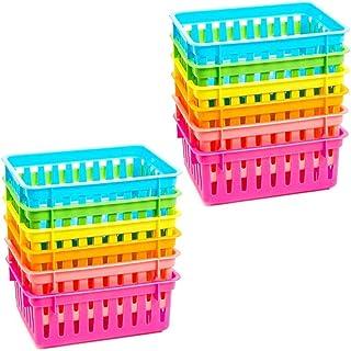 Bright Creations Lot de 12 paniers de rangement en plastique pour salle de classe 6 couleurs