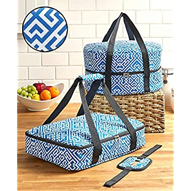 The Lakeside Collection 3-Pc. Carrier Sets (Blue Geometric)