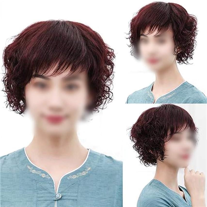 病気ピッチわなBOBIDYEE フルハンド編み物リアルヘアふわふわショートカーリーヘアー中年かつらリアルなかつら女性のためのファッションかつら (色 : Dark brown)