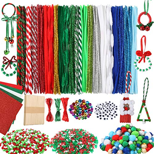 Caydo 1150 Pieces Christmas Pipe Cleaners Sets, Including Pipe Cleaners, Pom Poms, Wiggle Googly Eyes, Jingle Bells Tri Beads, Pony Beads, Felts,Wood Craft Sticks and Ribbons for Decoration DIY Craft