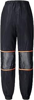 YiyiLai Women Leisure High Waist Mesh Zipper Athletic Long Trouser Pants