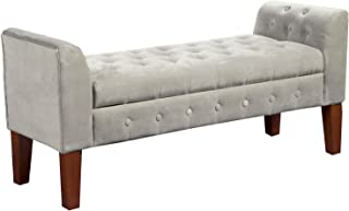 HomePop Velvet Tufted Storage Bench Settee with Hinged Lid, Grey