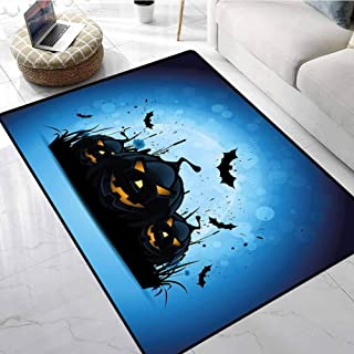 Halloween Kitchen Floor Mats Scary Pumpkins in Grass with Bats Full Moon Traditional Composition Floor Mats for Kids 48 X 60 Inch
