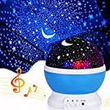 Music Star Projector Night Lights for Kids, Christmas Gifts for 2-5-6-12 Year Old Boys, Projection Lamp for Kids Bedroom,Christmas Xmas Birthday Gifts for Boys Age 2-10 Year Old Boys (Blue-star&music)
