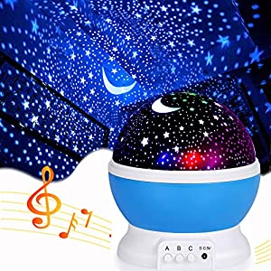 Star Light Projector for Bedroom,Music Star Starry Projector for Kids Nursery Lamp Gifts for Boys Girls Age 2-10 Year Old,,Baby boy Gifts for 6-12 Month Toys (Blue-Star&Music)