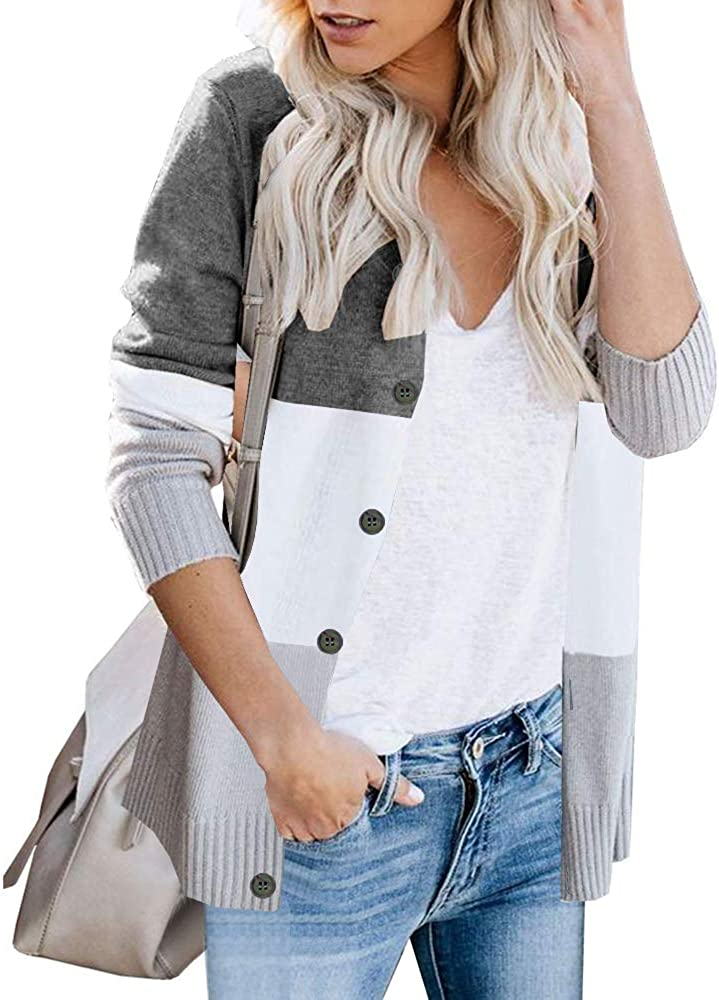 ETCYY Women's Long Sleeve Color Block Front Button Casual Knitted Outerwear Leopard Print Cardigan Sweaters