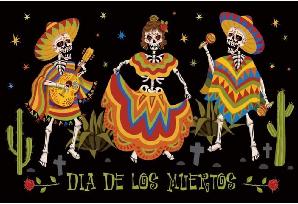 New Dia de Muertos Backdrop 7x5ft Mexican Day of The Dead Photos Background Skull Photos Marigold Mexico Festival Celebration Ceremony Afterlife Ancient Culture Photos Studio Props