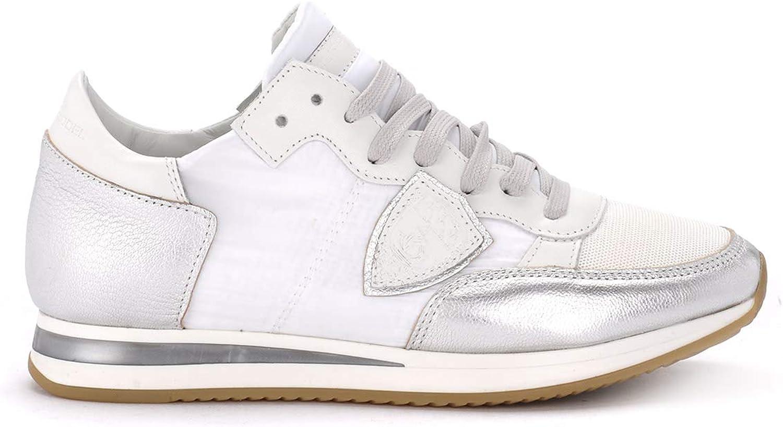 FILIPPE modeLEL modeLEL modeLEL Kvinnans Tropez vit and silver Fabric and läder skor  världsberömd försäljning online
