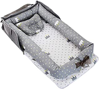 Baby Lounger and Baby Nest Sharing Co Sleeping Baby Pod with Pillow - 100% Soft Cotton Cosleeping Baby Bed Premium Quality and Bigger Size (0-24months) -Breathable & Hypoallergenic Portable Crib